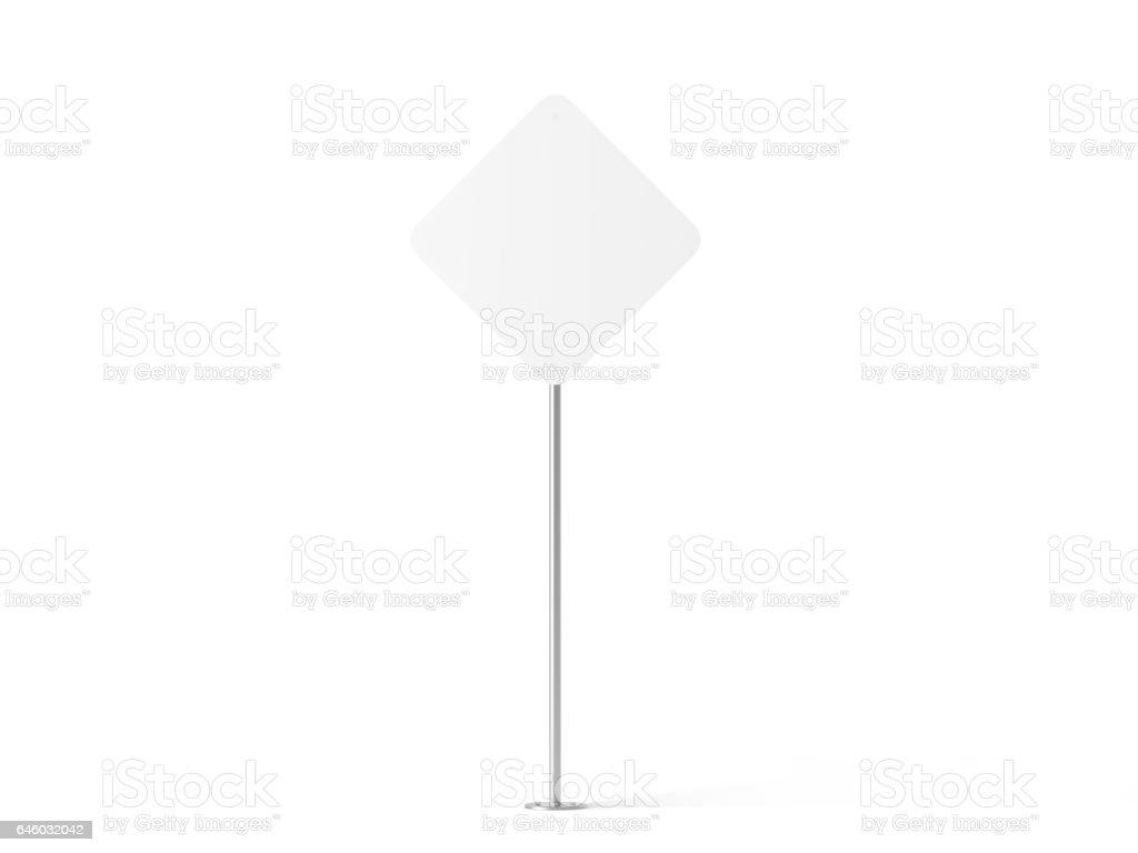 Blank vit romb form vägskylt mockup bildbanksfoto