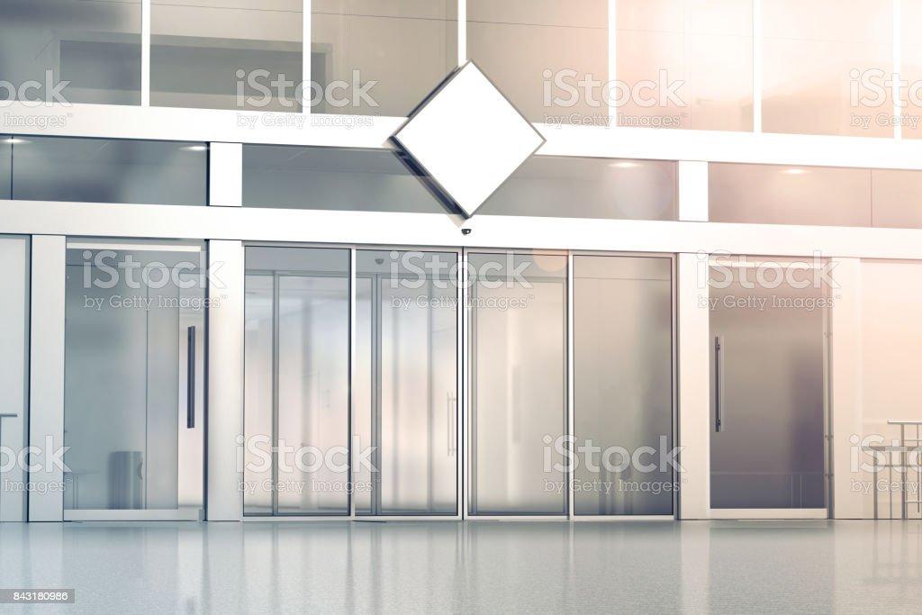 Blank white rhombus signage mockup on the store stock photo