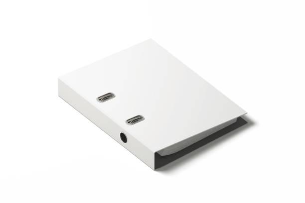 leere weiße ringbuch design mockup, 3d-rendering - ringbuch stock-fotos und bilder