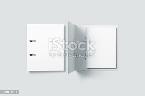 istock Blank white ring binder folder design mockup top view 658469196