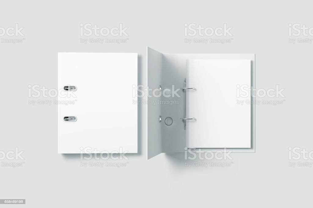 Blank white ring binder folder design mockup top view stock photo