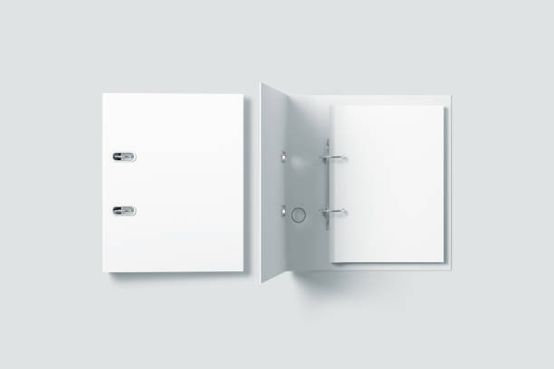 blank white ring binder folder design mockup top view - file stock photos and pictures