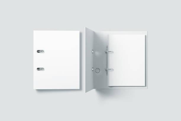 Blank white ring binder folder design mockup top view stock photo