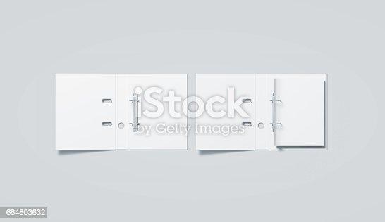 istock Blank white ring binder folder mock up top view 684803632