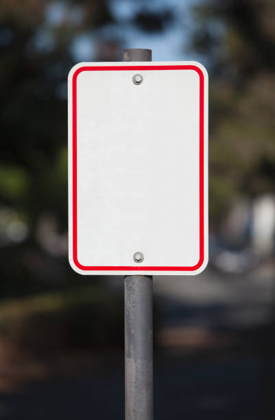 Blank White Road Sign stock photo