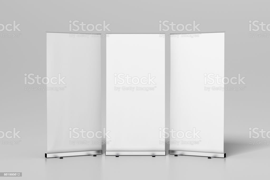 Blank white roll up banner stand stock photo