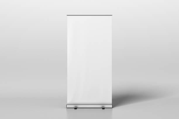空白の白いロール バナー スタンド アップ ストックフォト