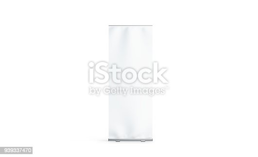 istock Blank white roll-up banner display mockup, isolated 939337470