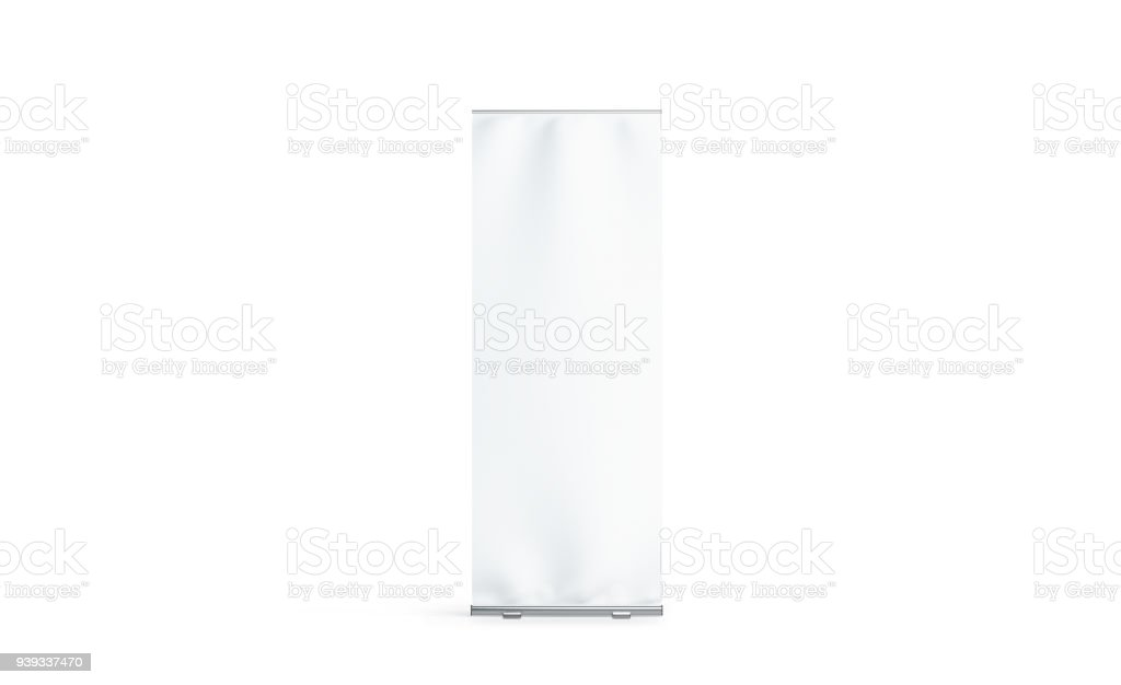 Blank white roll-up banner display mockup, isolated stock photo