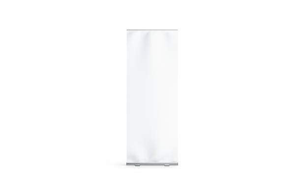 Blank white roll-up banner display mockup, isolated - foto stock