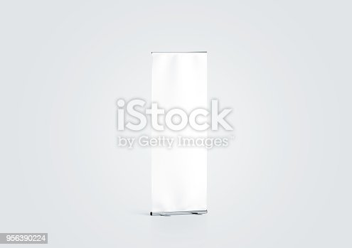 istock Blank white roll-up banner display mockup, side view 956390224