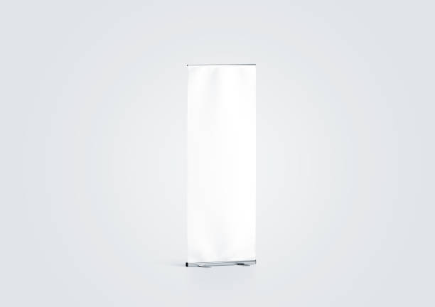 Blank white roll-up banner display mockup, side view - foto stock