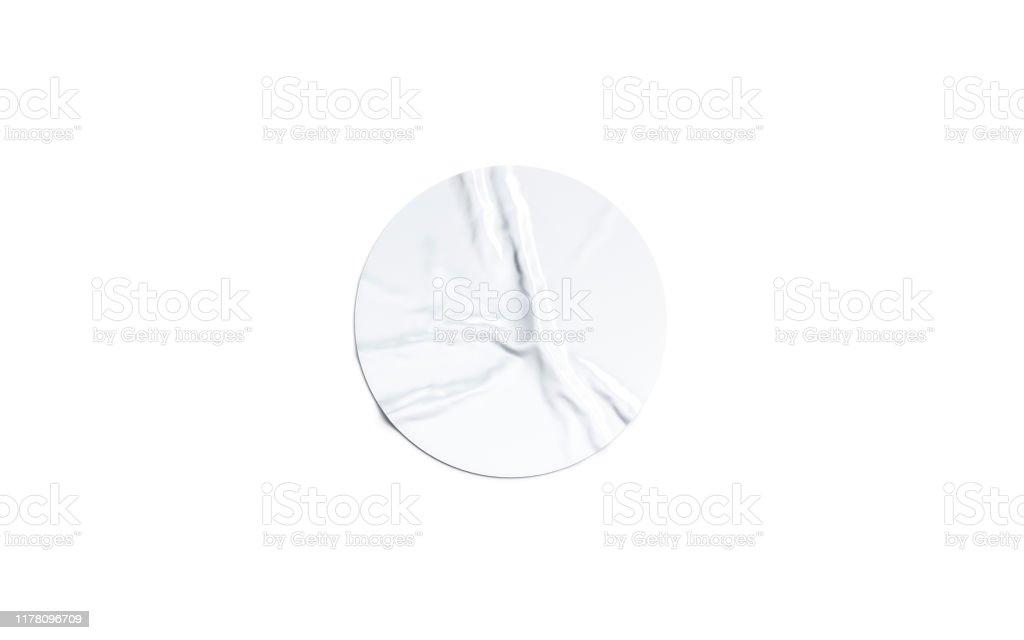 Leere weiße runde Klebeaufkleber Mock-up isoliert - Lizenzfrei Abzeichen Stock-Foto