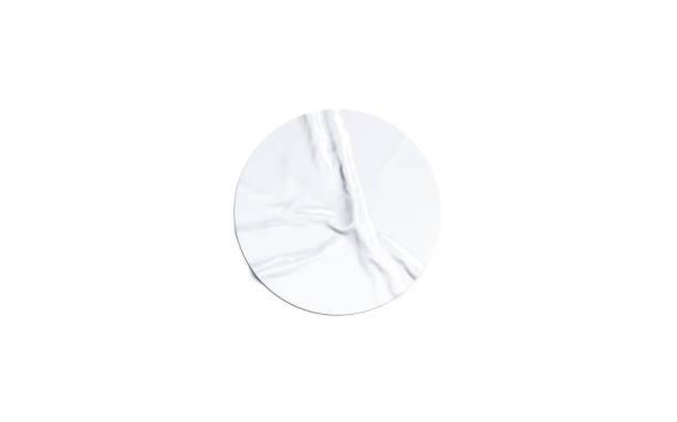 leere weiße runde klebeaufkleber mock-up isoliert - aufkleber stock-fotos und bilder