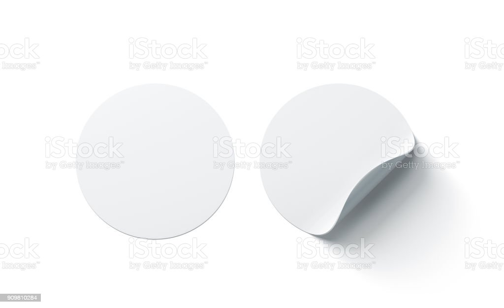 Blank white round adhesive stickers mock up with curved corner