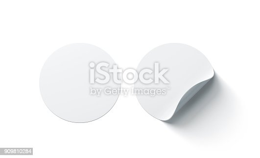 istock Blank white round adhesive stickers mock up with curved corner 909810284