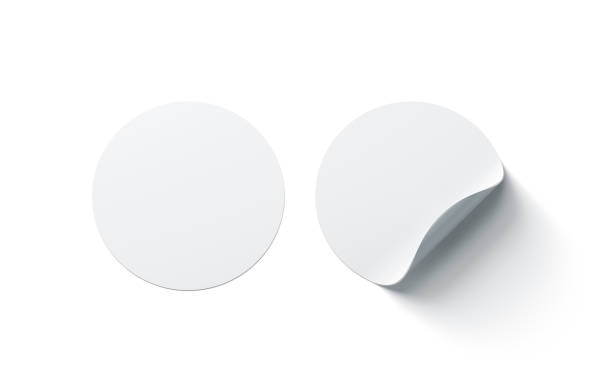Blank white round adhesive stickers mock up with curved corner stock photo