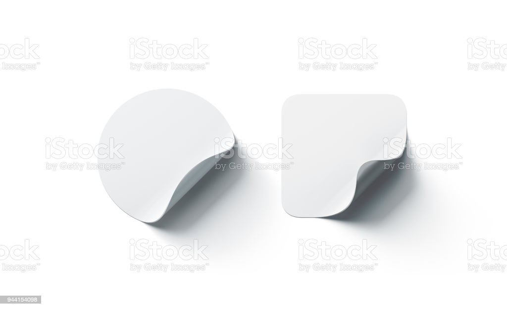 Blank White Round And Square Adhesive Stickers Mockup Curved Corner Stock Photo