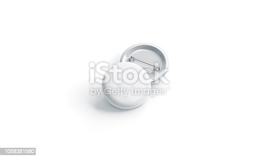 istock Blank white round badge stack mockup, front view 1058381580
