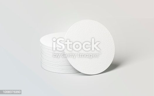 Blank white round beer coasters stack mockup, 3d rendering. Empty circle mat for drink mock up. Clear coster pedestal for can or bottle. Pile of rug for beverage template.