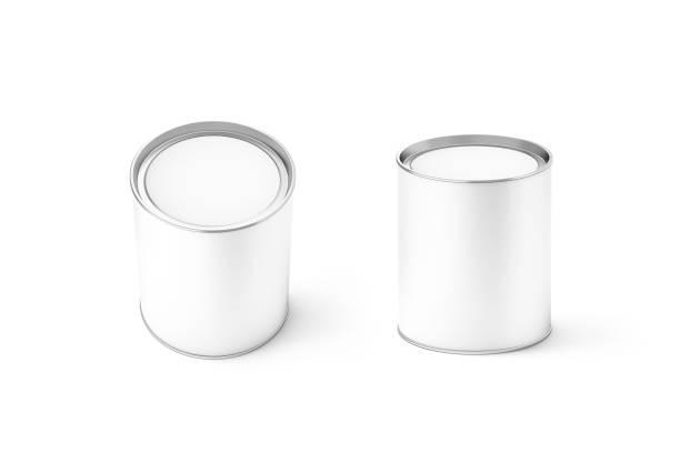 blank white round can mockup set, isolated, 3d rendering. - aluminiumkiste stock-fotos und bilder