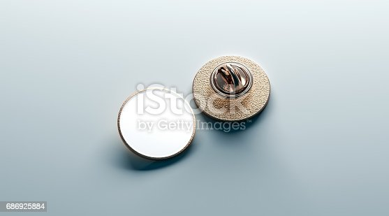 istock Blank white round gold lapel badge mock up, front back 686925884