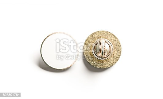 istock Blank white round gold lapel badge mock up, front back 807301784