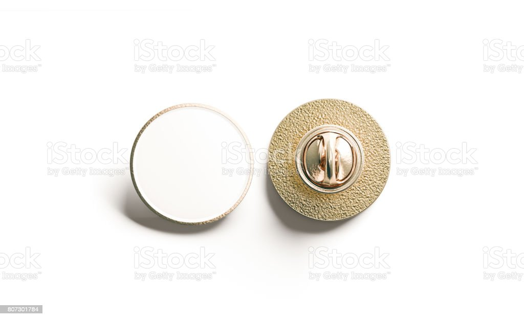 Blank white round gold lapel badge mock up, front back stock photo
