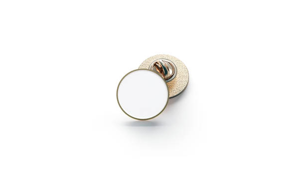Blank white round gold lapel badge mockup stock photo