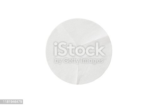 Blank white round paper sticker label isolated on white background with clipping path