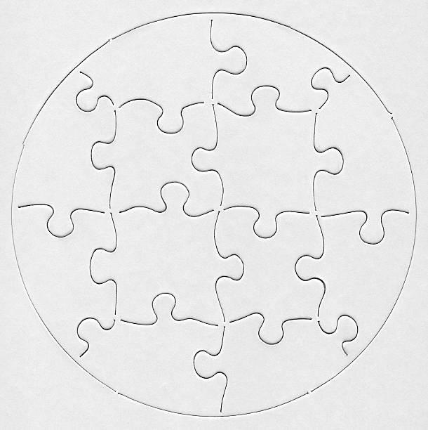 Blank White Round Puzzle stock photo