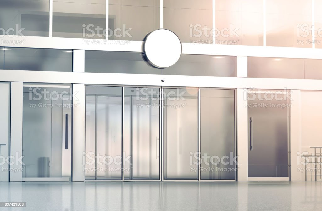 Blank white round signage mockup on the store stock photo