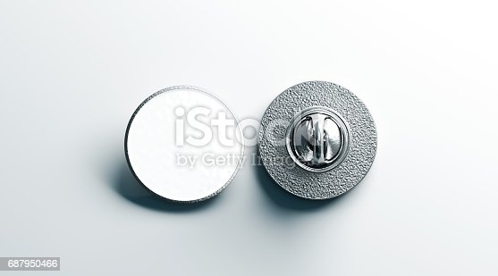 Blank white round silver lapel badge mock up, front and back side view, 3d rendering. Empty hard enamel pin mockup. Metal clasp-pin design template. Expensive curcular brooch for logo presentation