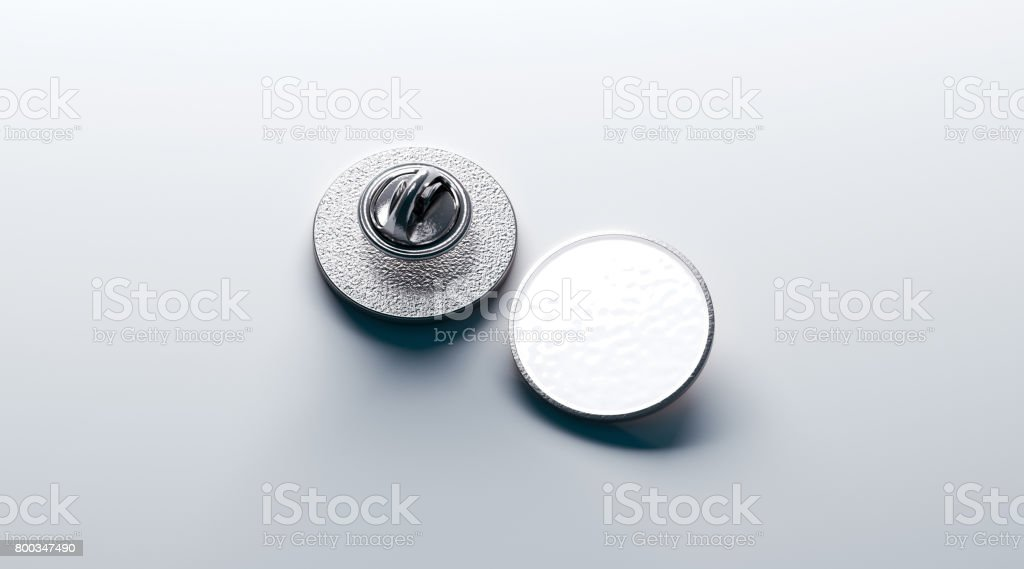 Blank white round silver lapel badge mockup, front stock photo