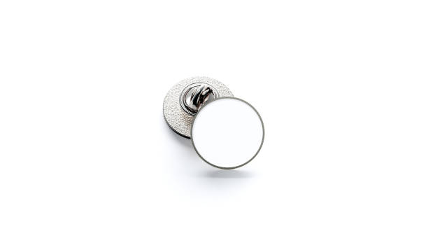 Blank white round silver lapel badge mockup stack stock photo