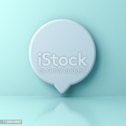 1094574474 istock photo Blank white round social media notification or speech bubble sign pin isolated on light green blue pastel color wall background with shadow 1159845892