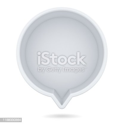 1094574474 istock photo Blank white round speech bubble pin isolated on white background with shadow 1158330354