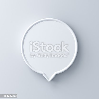 1094574474 istock photo Blank white round speech bubble pin isolated on white wall background with shadow 1158330353