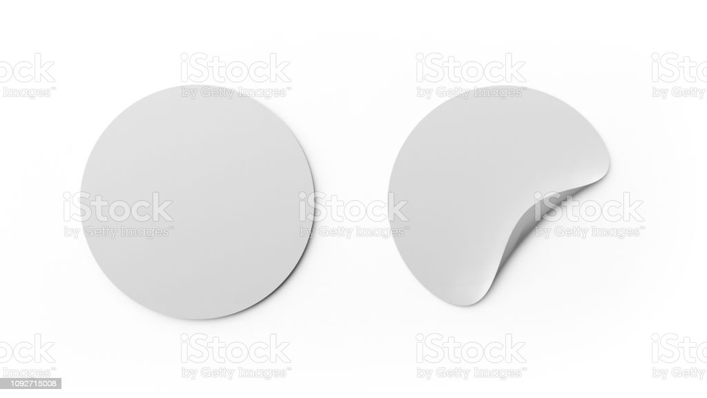 Blank white round stickers or tag template isolated on white background. Mock up design. 3d abstract illustration. Empty circle labels. royalty-free stock photo