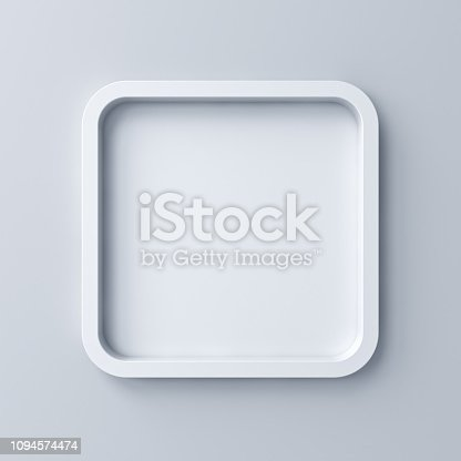 istock Blank white rounded square frame or empty white button isolated on grey wall background with shadow 3D rendering 1094574474
