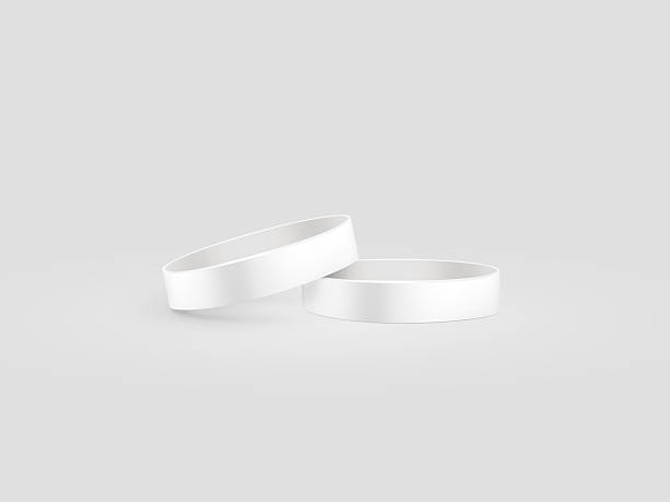 blank white rubber wristband mockup, clipping path, 3d illustration. - armband stock-fotos und bilder