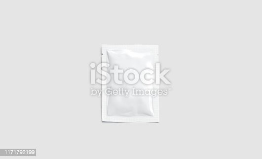 istock Blank white sachet packet mockup, isolated on gray background 1171792199