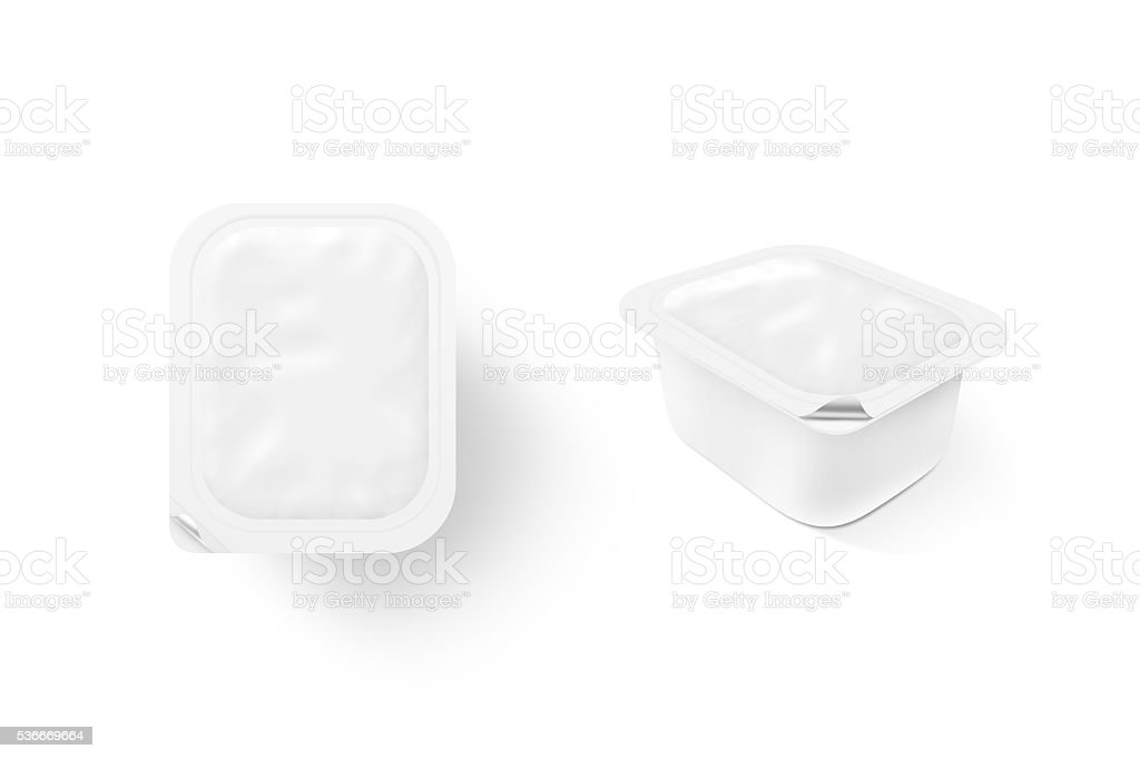 Blank white sauce box mock up stand isolated. Sause clear stock photo