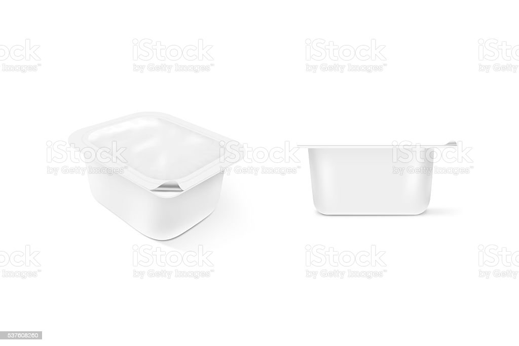Blank white sauce plastic container mock up stand isolated. Saus stock photo