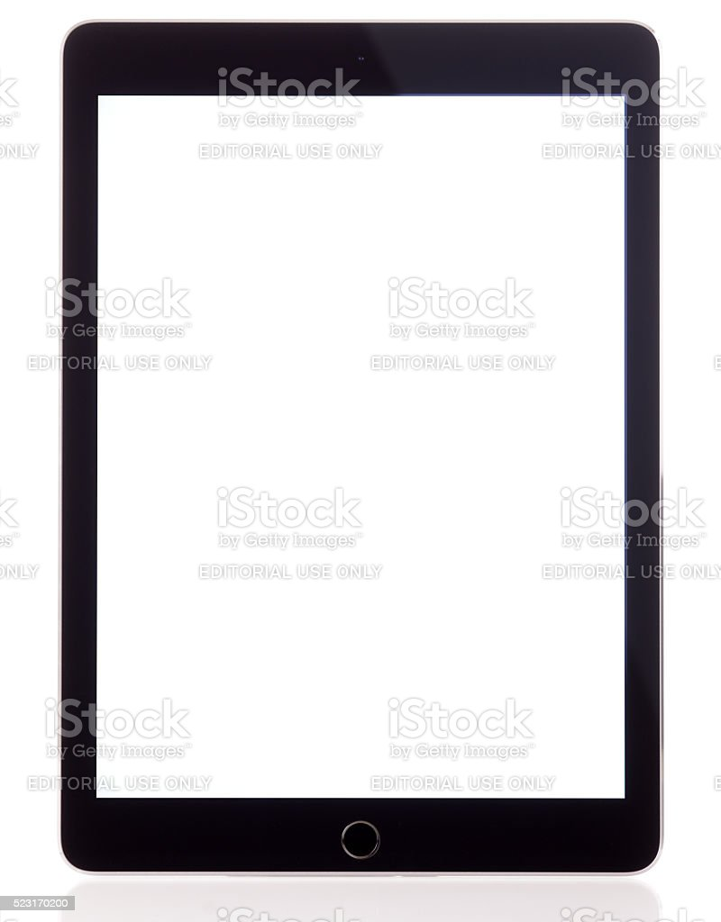 Blank white screen Apple iPad Air 2 stock photo