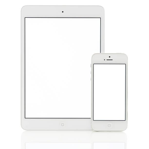 Blank white screen iPad Mini & iPhone 5 stock photo