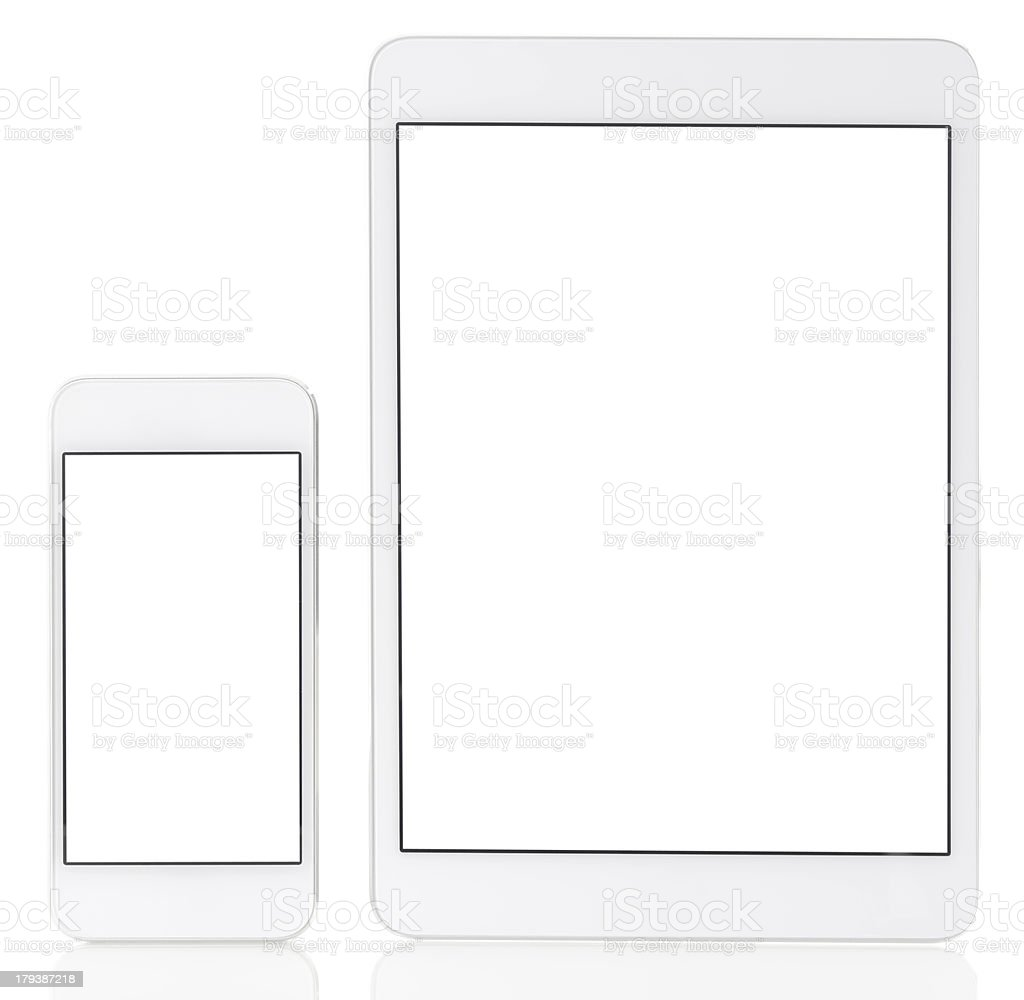 Blank white screen  tablet pc and smart phone royalty-free stock photo