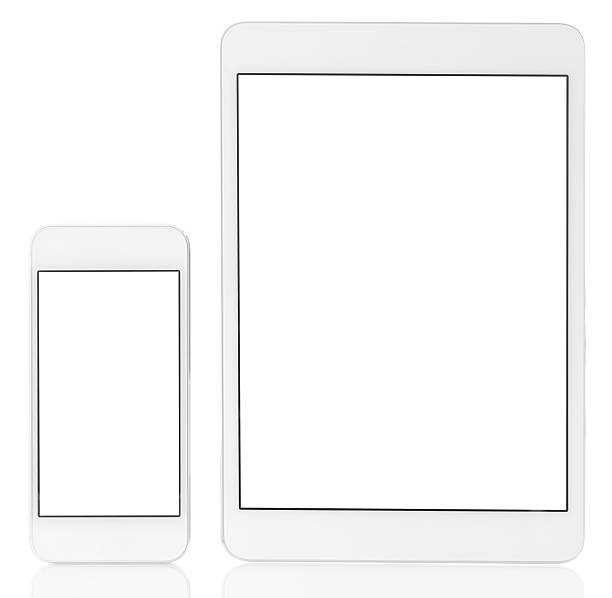 Blank white screen  tablet pc and smart phone stock photo
