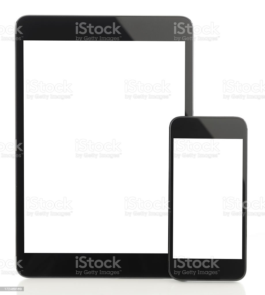 Blank white screen  tablet pc andsmart phone royalty-free stock photo