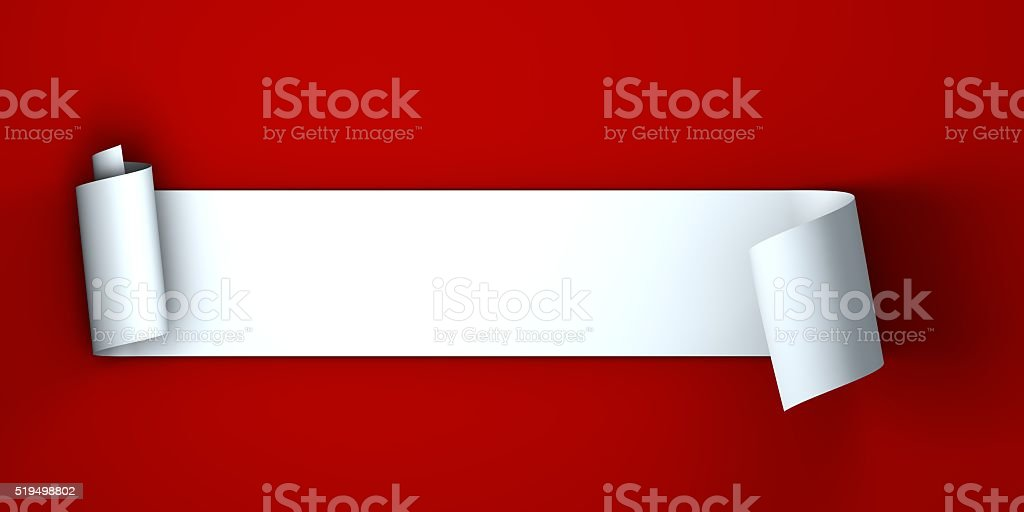 Blank white scroll banner on a plain red background